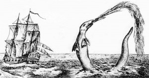 Sea serpent reported by the Bishop of Greenland in 1734.