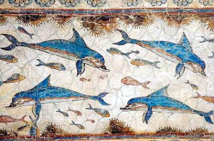 Minoan fresco in palace at Knossos, Crete