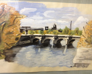 Tony Farrenkopf Watercolor, 1962 Pont Neuf