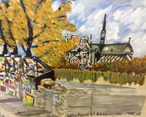 Tony Farrenkopf Watercolor, 1962 Notre Dame et bouquinistes.