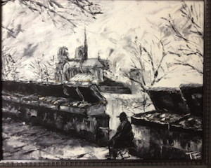 Tony Farrenkopf Oil, 1992 Notre Dame et bouquinistes, displayed in 1992 Wash. DC juried exhibition of psychologist art.