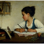 """A Girl Writing"" by Henriette Browne painted circa 1870"