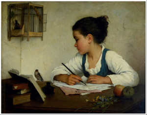 """""""A Girl Writing"""" by Henriette Browne painted circa 1870"""