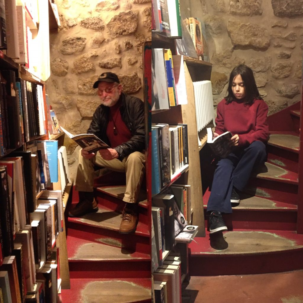 Paris Beat author Tony Farrenkopf revisiting Shakespeare & Company stairwell, and grandson Kellen following his footsteps on a separate trip. Cultural evolution marches on.
