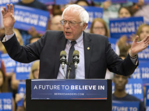 Democratic presidential candidate Sen. Bernie Sanders, I-Vt., speaks during a campaign rally at Penn State University, Tuesday, April 19, 2016 in State College, Pa. (AP Photo/Mary Altaffer)
